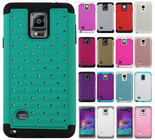 For Samsung Galaxy Note 4 HYBRID IMPACT Dazzling Diamond Case Phone Cover