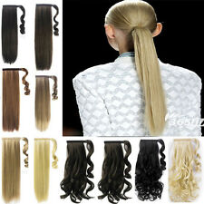 NEW long Magic Sticker pony tail Wrap Around clip in ponytail hair extensions ZC