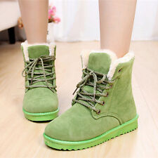 New Fashion Women Lace Up Boots Comfort Shoes Flat Round Toes Ankle Winter Warm