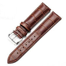 Genuine Leather Watch Band Strap Black/Brown Women Men Stainless Steel Buckle CA