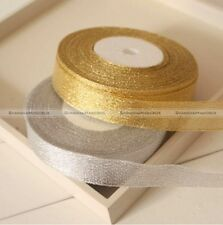 25yds 20mm Wire Edge Glitter Gold Silvery Ribbon Christmas Gift Wrapping