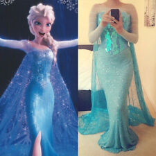 Frozen Movie Elsa Queen Blue Fancy Dress Adult Lady Tulle. Costume Cosplay Dress