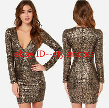 PARTY QUEEN!! Sexy Womens Big V Neck Gold Sequins Fitted Mini Short Dress