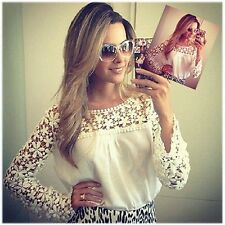 Women Sexy Sheer Sleeve Embroidery Floral Lace Crochet Tee Top T shirt Vintage H