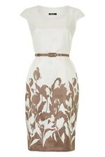 Roman - Floral Printed Belted Shift Dress Wedding Occasion Outfit Cream Brown