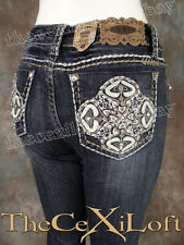 NWT Womens LA IDOL Bootcut Jeans with Leather Pedals & Pocket Embroidery! 5285BT
