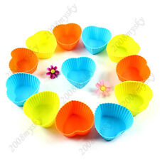 Lot 12pc Soft Silicone Round Chocolate Cake Muffin Cupcake Liner Baking Cup Mold