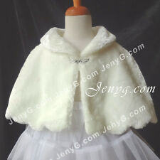 #P11 Flower Girls/Christening/Pageant/Formal/Party Poncho, Ivory 0-5 Years