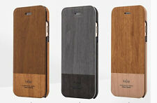 Kajsa Wood Leather Stand Flip Cover Wallet Case + Film F Apple iPhone 6 and plus
