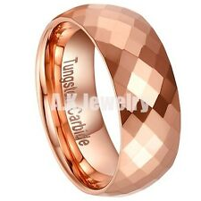 Tungsten Carbide 8mm Rose Gold Multi-Faceted Prism Cut Wedding Band Ring SZ 7-12