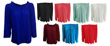 NEW WOMENS OFF THE SHOULDER LONG SLEEVE JERSEY TUNIC SLOUCH DRESS TOP SIZE 8-22