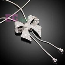 18k white Gold GP Austrian Crystal bow-knot sweater chain pendant necklace N520