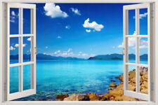 Removable WINDOW KIDS Beach Sea 3D Window View Scenery Wall Sticker Decor Decals