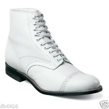 Stacy Adams Madison White Ankle Boot Biscuit Cap Toe Lace Up Leather 00015_100