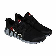 Reebok Mens Zigtech Big & Quick Black Gray Synthetic Lace Up Running Shoes