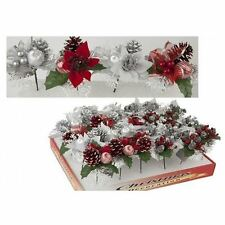 Christmas Xmas Decoration Pick Red/Silver