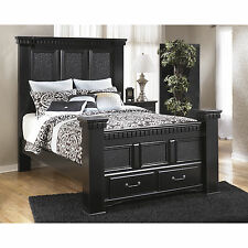 Signature Design by Ashley Cavallino Black Storage Poster Bed