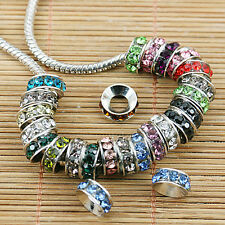 WHOLESALE LOTS 10MM CRYSTAL FINDINGS BIG HOLE CHARM BEADS FIT EUROPEAN BRACELETS