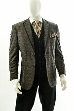 Men's 3 Piece High Fashion Paisley Design Modern Fit Suit Style HPS282V Coco