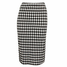 WOMENS LADIES DOGTOOTH BODYCON ELASTICATE WAIST PENCIL MIDI SKIRT PLUS SIZE 8-20