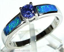 Tanzanite & Blue Fire Opal Inlay Solid 925 Sterling Silver Ring size 6, 7, 8, 9