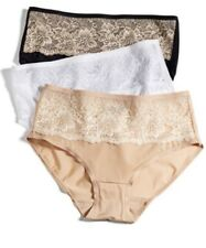 BALI Comfort Indulgence HIPSTER 6 7 8 9 Lace Panties Brief SATIN Black Beige NEW