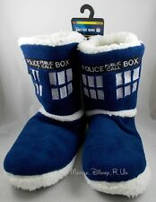 BBC Doctor Who Dr Tardis Police Call Box Slipper Boots Plush Shoes Sz S-XL NEW