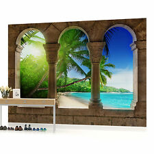 Paradise Beach View Through Arches  PHOTO WALLPAPER WALL MURAL ROOM DECOR (772VE
