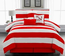 7Pc Microfiber Nautical Themed Comforter set Red & White Striped Full Queen King
