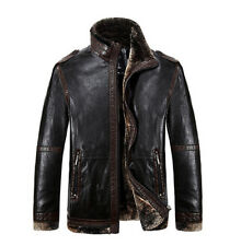 FASHION Mens Vintage Biker Leather Fleece Coats Jackets Flight bombers Winter