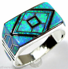 Handcrafted Blue Fire Opal & Onyx Inlay 925 Sterling Silver Men's Ring Size 9-13