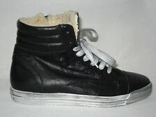 New calda SNEAKERS donna ZIP NERO 100% VERA PELLE MADE in ITALY fodera di pelo