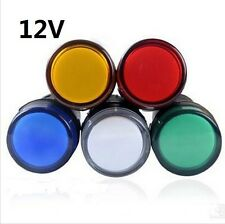 5Pcs 12V LED Indicator Pilot Signal Light Lamp Red Green Blue Yellow White