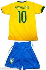 Brazil Neymar Jr Yellow Soccer Kids Jersey and Shorts Youth Sizes
