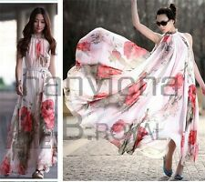 Womens Summer Chiffon Floral Sexy Summer Party Evening Long Dress Plus Size 2-18