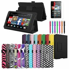 """PU Leather Folio Case Cover Stand For 2014 Amazon Kindle Fire HD 6"""" +Accessories"""