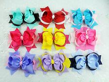 Handmade 9pc 5inch baby girl Mixed color hair bows clip Children hairpins-1849