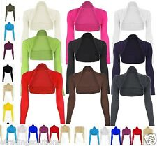 Womens Long Sleeved Bolero Shrug Jacket Top Ladies Cardigan Size 6-22 UK *Bolro