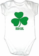 IRISH GIRL Baby Grow Gro Vest Clothes Ireland Shamrock New Bodysuit Top