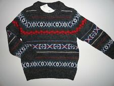 NWT Baby Gap 2T 3T/Years Fair Isle Heather Gray Boy's Sweater New
