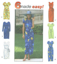 Misses Dress Sewing Pattern Front Panel Ties Round Neck Concealed Slit 8070 Easy