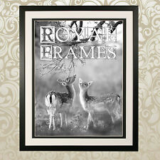 """Large 30x20"""" Black Wooden Photo Picture Poster Frame Double Mount COLTON Range"""