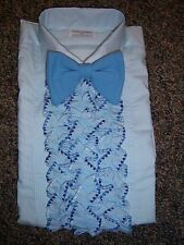 Vintage Blue Tuxedo Shirt with Detachable Solid Blue Ruffle Options