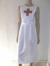 WHITE VICTORIAN EDWARDIAN WW1 STYLE NURSE APRON  RED CROSS CROSS  OVER STRAPS