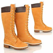 WOMENS LADIES TIMBERLAND WHEAT 14 INCH KNEE HIGH LACE UP BOOTS WINTER SIZE