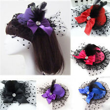 1 Lady Mini Feather Rose Top Hat Cap Lace Fascinator Hair Clip Costume Accessory