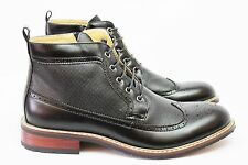 New Men's Black Ferro Aldo High Top Boots Wing Tip Brogue Leather Lace Up NEW