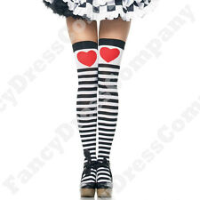 Black & White Striped Thigh High Stockings with Red Heart Storybook Fancy Dress