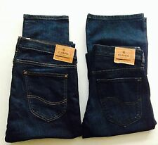 NEW MENS LEE BOOTCUT AND SLIM FIT JEANS DARK INDIGO BUTTON FLY/ZIP FLY