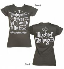 Ladies Charcoal Harry Potter I Solemnly Swear Mischief Managed T-Shirt